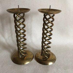 Brass Pillar Candle Stick  Holder Set of 2